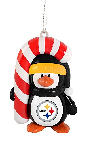 NFL Pittsburgh Steelers Big Penguin with Candy Cane Ornament
