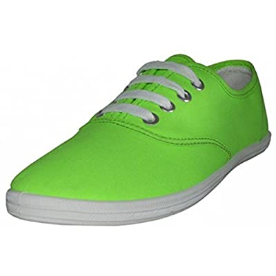 EasySteps Women's Canvas Lace Up Shoes with Padded Insole, Neon Green, US Women's 8 B(M) US