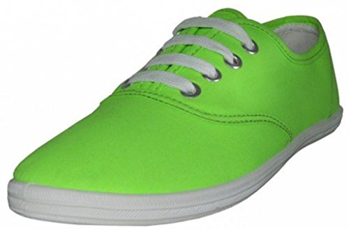 Easy USA Womens Canvas Lace Up Shoe With Padded Insole Neon Green caSP9B