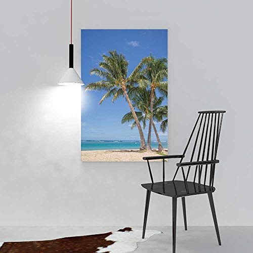 Hanging Wall Decoration Painting Isolated Waikiki Beach View a Grove Coconut Palm Trees Living Room Office Hotel Frameless W12 x H16