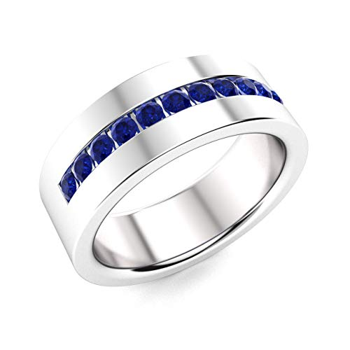 - Diamondere Natural and Certified Blue Sapphire Wedding Band Ring in 14k White Gold | 0.51 Carat 6.0 MM Band Ring for Mens, US Size 11