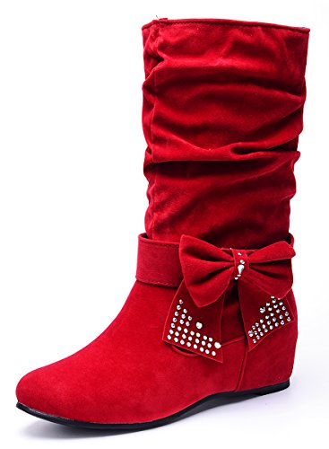 Odema Women's Sweet Detachable Bowknot Hidden Wedge Mid Calf Slip On Boots Red 10 B(M) US (Red Flat Boots)