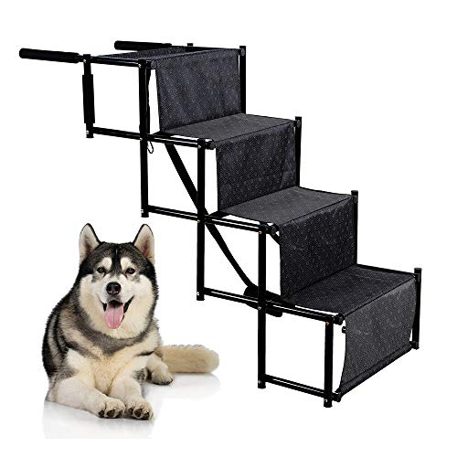 rabbitgoo 4-Step Pet Car Step Stairs for Large Dogs & Cats, Portable & Folding Pet Stairs Ramp with Metal Frames…