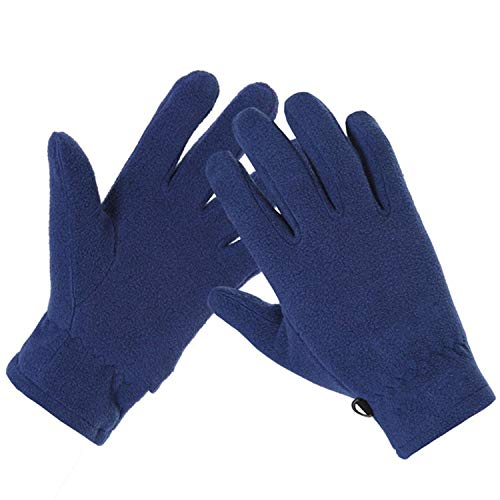 Autumn Winter Warm Fleece Gloves Thermal Wincey Cold-proof Mountain Hunting Gloves,Navy blue,L