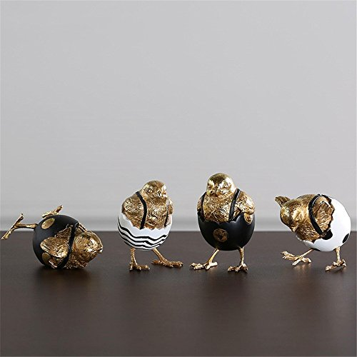 Lucky House Hand-Painted Shell Chicken Creative Chicken Hatching Resin Craft Gift Gold by Lucky House (Image #6)