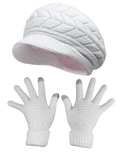 (HINDAWI Womens Winter Hat and Gloves Set for Girls Wool Knit Skull Cap with Visor,White)