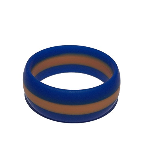 Tough Love Rings - Striped Blue/Orange - Thick Band - Size 8]()