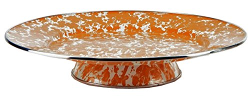 Enamelware - Orange Swirl Pattern - 12.5 Inch Cake Plate