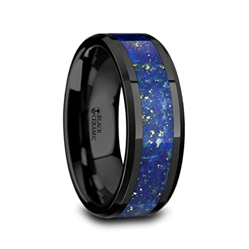 MARLOW Men's Polished Black Ceramic Wedding Band Ring with Blue Lapis Inlay & Beveled Edges - 8mm Wide Band with Free Custom Engraving Personalized from Thorsten by Roy Rose Jewelry