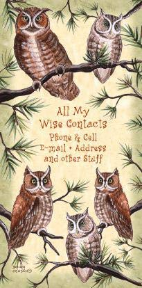 Owl Address Book Small Pocket Size Soft Covered Nature 3x6 inches