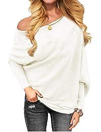 Women's Off Shoulder Knit Jumper Long Sleeve Pullover...