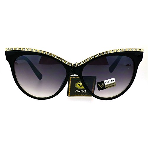 Womens Iced Out Rhinestone Metal Brow Trim Cateye Sunglasses - With Sunglasses Cat Rhinestones Eye