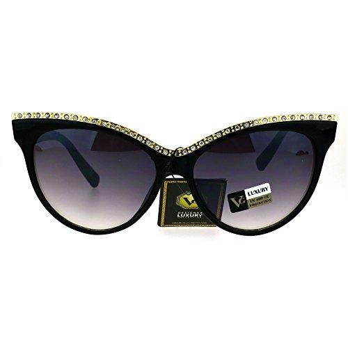 Womens Iced Out Rhinestone Metal Brow Trim Cateye Sunglasses - Sunglasses With Cat Rhinestones Eye