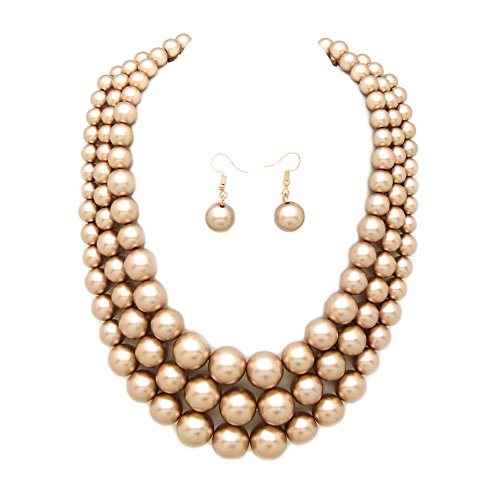 Women's Simulated Faux Three Multi-Strand Pearl Statement Necklace and Earrings Set (Champagne - Set Gold Pearls Necklace