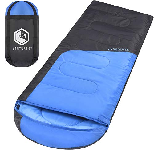 VENTURE 4TH Backpacking Sleeping Bag - Lightweight, Comfortable, Water Resistant, 3 Season Sleeping Bag for Adults & Kids - Ideal for Hiking, Camping & Outdoor Adventures - Regular Size - Blue/Gray