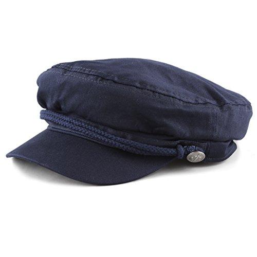 The Hat Depot Black Horn Kids Cotton Greek Fisherman's Sailor Fiddler Driver Hat Cap ... (Navy) -
