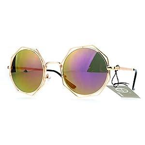 Retro Sunglasses Octagonal Outline Round Double Metal Frame Gold, Purple Mirror