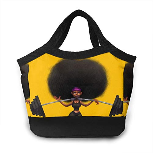 Afro Hair Girl African Woman Yellow Eccentric Women Lunch Bags For Insulated Lunch Tote Bag Leak-proof Lunch Box Cooler Bag For Working School Picnic Beach Sporting