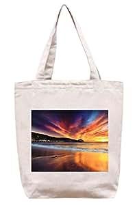 Muelle bajo espectacular puesta de sol–algodón Canvas Tote Bag
