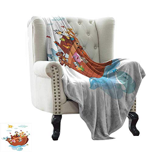 (BelleAckerman Winter Warm Blanket Cartoon,The Ark Cartoon Style Snake Butterflies Bees Insects and Fishes Toucan Wildlife,Multicolor Microfiber All Season Blanket for Bed or Couch Multicolor 30