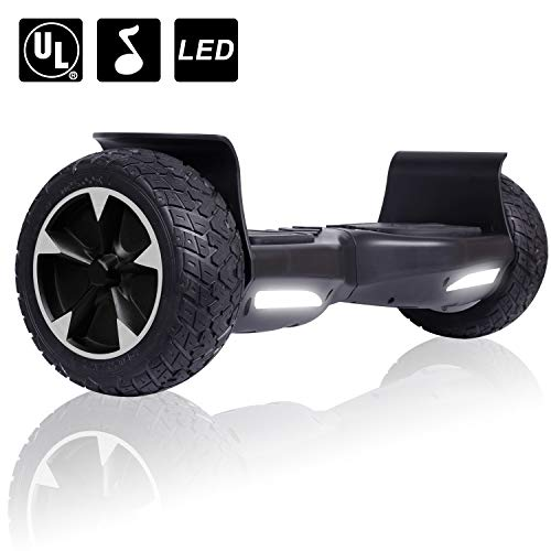 Felimoda Hoverboard - All Terrain Rugged 8.5 Inch Wheels Off-Road Electric Smart Self Balancing Scooter w/Bluetooth LED Lights - UL2272 Certified