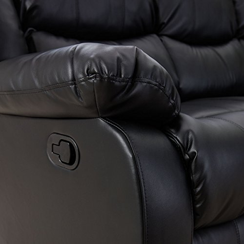 Giantex 3Pc Black Motion Sofa Loveseat Recliner Set Living Room Bonded Leather Furniture (Single Seat, Black)