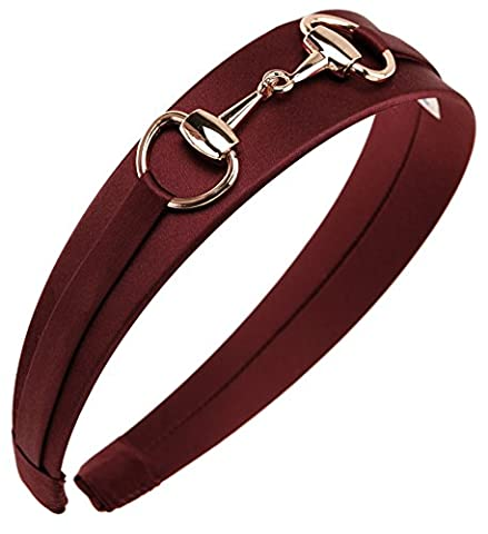 L. Erickson USA Bit Headband - Silk Charmeuse Merlot - Red Usa Merlot