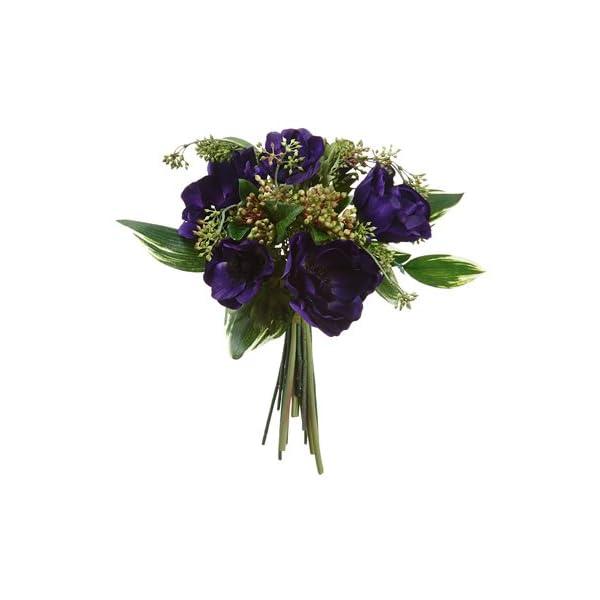 13″ Anemone/Viburnum Berry Bouquet Purple (pack of 6)