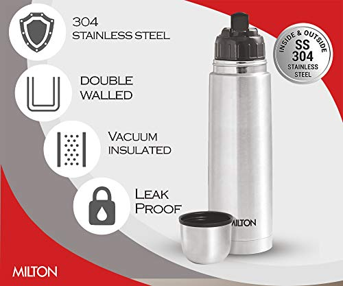 Milton Thermosteel Flip Lid Flask, 350 milliliters, Silver 4