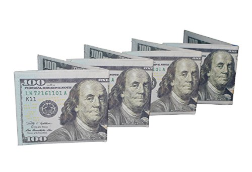 Dollar Bill Green - Novelty Wallet w/ 100 Dollar Design Benjamin Franklin Great Party Favor (Pack of 4)