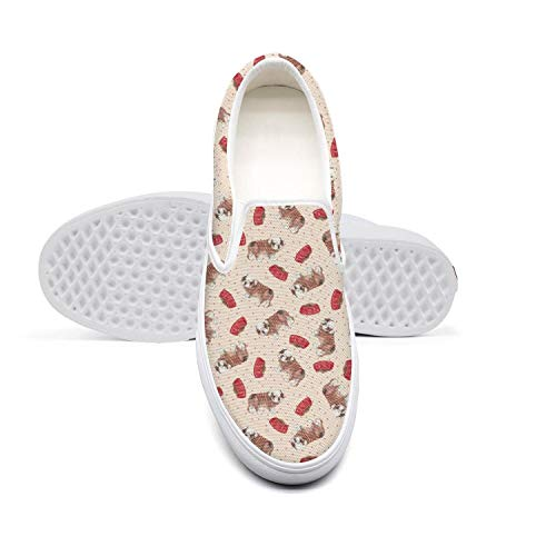 cb58fb722d2b2 Cute Vintage Bulldog Woman Shoes Canvas Sneakers White Slipons Unique  Casual Sneakers Running Shoes