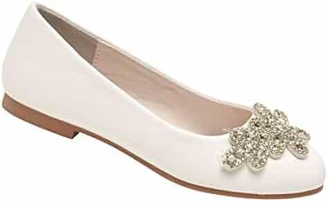 0e4f7813074 Nanette Lepore Girls White Bejeweled Floral Applique Slip-On Flats 11-4 Kids