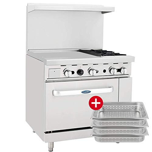 CookRite ATO-24G2B Natural Gas Range 2 Burner Hotplates with 24'' Manual Commercial Griddle Standard Oven - 125,000 BTU by Cook Rite