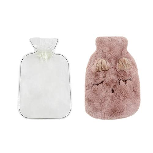Aimeio 1 Liter Transparent Rubber Hot Water Bottle, Cute Warm Water Bag with Plush Fleece Cover, Hand Feet Belly Warmer