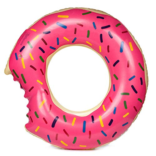 Sabolay Gigantic Donut Pool Float, Funny Inflatable Vinyl Summer Pool or Beach Toy,Ear&Nose Protector and Patch Kit Included,Pink 80# ()