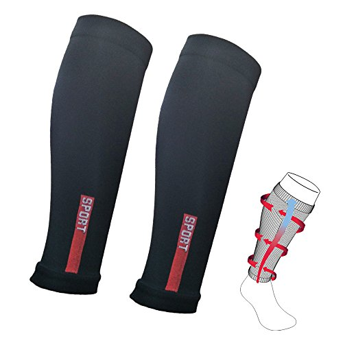 Calf Compression Sleeve(2 Pairs) Shin Splint muscle leg compression socks for Men & Women Great for Calf Pain Relief,Running,Cycling,Air Travel,support,Circulation & Recovery …