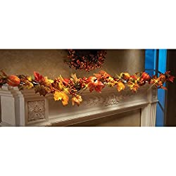 Kanzd 1.8M LED Lighted Fall Autumn Pumpkin Maple Leaves Garland Thanksgiving Decor (Mulitcolor)