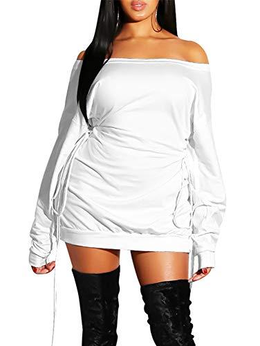GOKATOSAU Women's Sexy Casual Off Shoulder Long Sleeve Lace Up Loose Club Mini Dress White