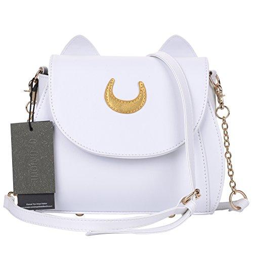 QZUnique Women's Summer Fashion Top Handle Cute Cat Cross Body Shoulder Bag White