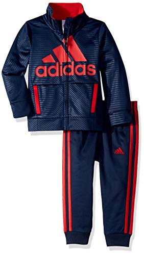 adidas Boys' Toddler BOS Tricot Jogger Tracksuit 2-Piece Set, Block Adi Navy 4T