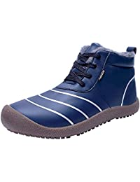 Mens Snow Boots Winter Water Resistant Booties, Slip On Ankle Boots for Men with Full
