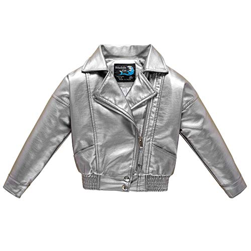 (Budermmy Girls Embroidered Floral Faux Leather Motorcycle Moto Biker Jackets Silver Size 10 )