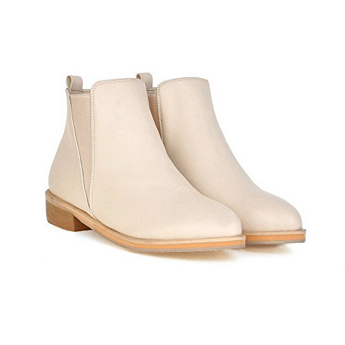AmoonyFashion Womens PU Blend Materials Round Closed Toe Low-Top Low-Heels Boots Beige 7FjZV0Wyd