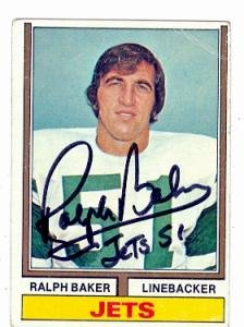 Autograph Warehouse 66629 Ralph Baker Autographed Football Card New York Jets 1974 Topps No. 68
