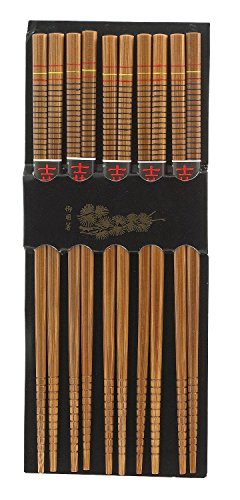 Helen Chen's Asian Kitchen Bamboo Chopsticks, 5-Pair Silk Wrapped, 2-Pack (10 Pairs of Chopsticks in Total) by HIC Harold Import Co.