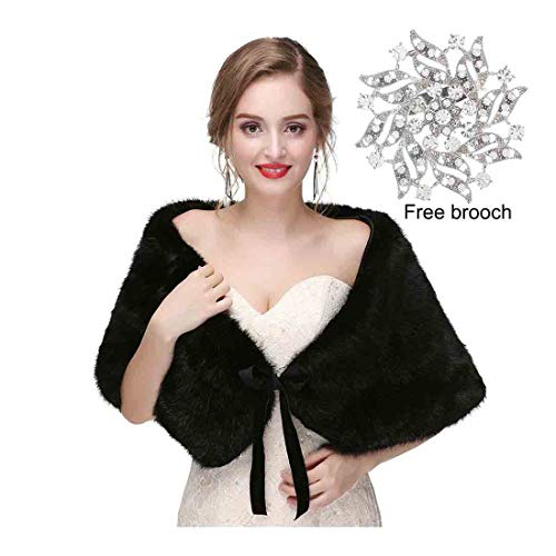 Olbye Women's Faux Fur Shawls and Wraps Wedding Fur Wrap 1920 Bridal Fur Stole Sleeveless Scarf for Bride and Bridesmaid (Black)