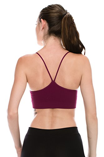 Women's Padded Double Layer Bandeau Bra CamiMade in USA (Small/Medium, Raspberry) (Double Cami Layer)