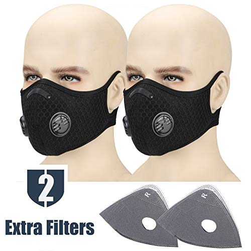 Cevapro Upgraded Dustproof Masks 2 Pack, Dust Mask with Extra 3 N99 Activated Carbon Filter - Anti Pollution Mask Allergy PM 2.5 Half Face Masks for Biking Motorcycling Running(Black)