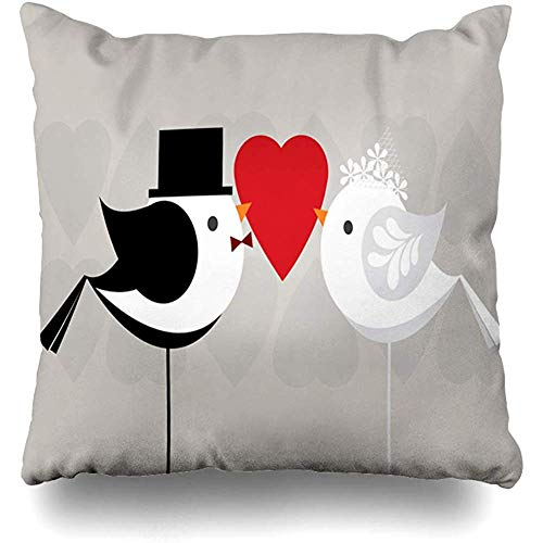 Throw Pillow Cover Square 18x18 Inch Getting Marry Love Birds Married Celebration Vectorillustration Wedding Couple Kiss Hitched Hat Zippered Cushion Pillow Home Decor Cases