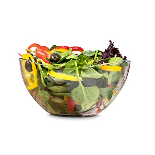 Zanzer Clear Glass Serving Salad Bowl - Mixing Bowl 63.5 oz - Wavy Design ...